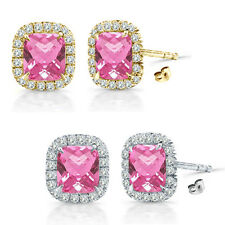 6mm Pink Topaz Birth Gem Stone Stud Halo Solitaire Cushion Silver Pair Earrings