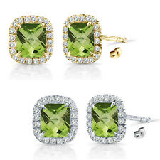 6mm Peridot Birth Gem Stone Stud Halo Solitaire Cushion Silver Pair Earrings