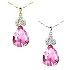 "Pear Shape Pink Topaz Gem Birth Stone Sterling Silver Pendant Necklace 18"" Chain"