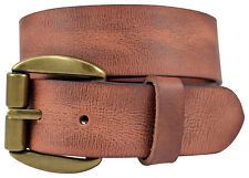 Vintage Full Grain Buffalo Leather Belt w/ Heavy Duty Roller Buckle -Cognac(Tan)
