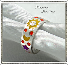 925 Sterling Silver Colored Enamel Sun Star Moon Toe Ring