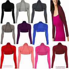 Womens Long full Sleeve Bolero Shrug Jacket crop Top Ladies Cardigan  Size 8-14