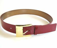 NEW MICHAEL KORS MK EMBOSSED RED LEATHER+METALLIC GOLD TONE BUCKLE BELT-SZ S,M