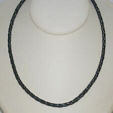 Bracelet Anklet Necklace 4mm Black Braided Leather Cord Sterling Silver Clasp