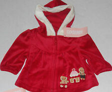 Gymboree Gingerbread Girl Red Velour Hooded Jacket Size 3-6 Months