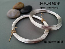 24 or 26 Gauge Round Fine Silver (999) Jewelry Wire - Dead Soft - 10 feet