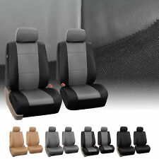Pair Bucket PU Leather Seat Covers for Detachable Headrest Airbag Compatible