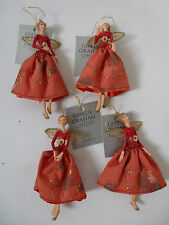 Gisela Graham Resin and Fabric Red Rose Fairy Christmas Dec (4 asst) 10cms