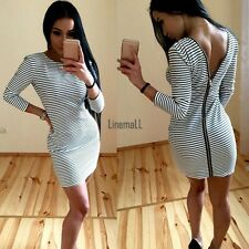 Women Spring Package Hip Dress Back Zipper Stripe Slim Bodycon Party Mini Dress