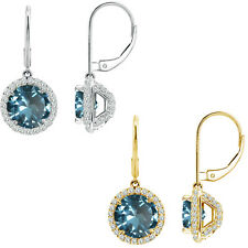 6mm Aquamarine Round CZ Lever Back Halo Dangling 14K White/Yellow Gold Earrings