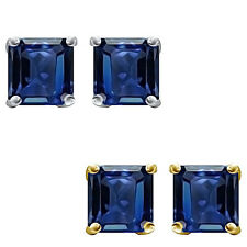 6mm Princess CZ Sapphire Birthstone Gemstone Stud Earrings 14K White Yellow Gold