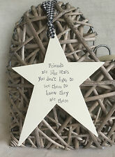 East of India Rustic Style Cream Wooden Star - Shabby Chic Friendship Xmas Gift
