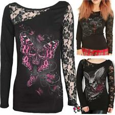 SPIRAL DIRECT BUTTERFLY SKULL LONG TOP LONG SLEEVE LACE BLACK GOTHIC