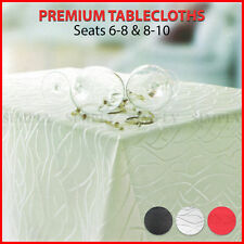 Premium Tablecloth Rectangle Table Cloth White Red Black Silver Large Linen 8 10