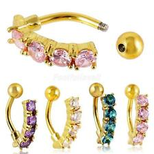 Women Reverse Belly Crystal Button Navel Ring Body Piercing Jewelry