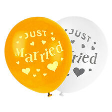 """Quality Latex Balloon Set - Ivory + Gold """"Just Married"""" Balloons For Wedding etc"""