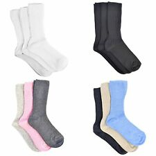 Womens/Ladies Plain Cotton Rich Socks (Pack Of 3)