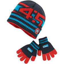 Boys Thomas & Friends Knitted Stripe Acrylic Beanie Hat & Glove Set Navy Red 2-6