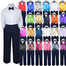 23 Color Choice 4pc Vest Bow Tie Boys Suit Navy Set Baby Toddler Kid Formal S-7