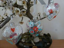 Gisela Graham Country Matters Glass Heart Easter decoration (3 asst) 7cms