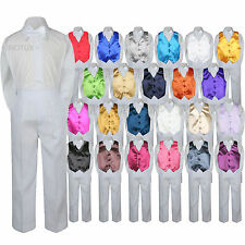 23 Color Choice 4pc Vest Bow Tie Boys Suit White Set Baby Toddler Kid Formal S-7