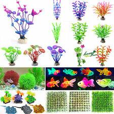 Artificial Glowing Fish Grass Silicone Plants Coral Ornament Aquarium Tank Decor
