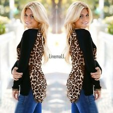 Fashion Womens Leopard Print Long Sleeve Casual Loose T-shirt Tops Blouse LM