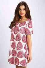 Womens Size 8 10 12 14 Tunic T Shirt Summer Feather Pink Dress Casual Day Pretty