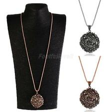Vintage Womens Hollow Rhinestone Ball Long Chain Pendant Necklace Jewelry Gift