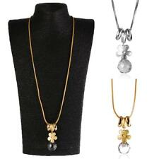 Fashion Gold/Silver Flower Statement Pendant Necklace Long Sweater Chain Jewelry