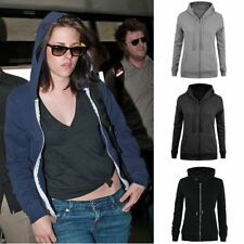 New Ladies Womens Sweatshirt Plain Zip Fleece Hooded Coat Jumper Jacket Hoodie