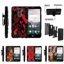 For LG Stylus 2 Plus| Clip Combo Holster Stand Case Black Red Hearts