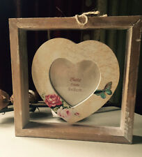 SHABBY WOODEN CHIC Hanging Heart Freestanding Photo Frame Floral Butterfly