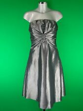 HOUSE OF FRASER SILVER DRESS WITH DIAMONTES & DETACHABLE SHOULDER STRAPS-RRP £95