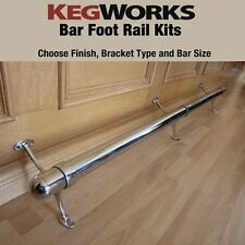 "2"" OD Bar Foot Rail Rest Kits - Choose Finish Bracket & Footrail Length 2 4 8 12"
