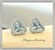 18K White Gold Plated Crystal Triangle Earrings made with Swarovski Crystals
