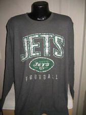 NFL New York Jets Football Long SLeeve Thermal Waffle Shirt Mens Majestic Gray