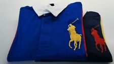 RALPH LAUREN BOYs KIDs LONG SLEEVE PANELLED RUGBY POLO NAVY ROYAL BLUE S M L XL