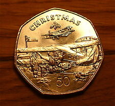 1985 RARE ISLE OF MAN CHRISTMAS 7 SIDE LARGE OLD 50P FIFTY PENCE UNC PLANE