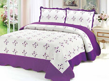 3 Pcs Embroidery 100% Cotton Fill Quilt Set Bedding Bedspread coverlet 7 colors