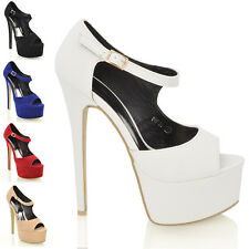 WOMENS STILETTO HEEL PLATFORM PEEPTOE LADIES PROM PARTY STRAP SANDALS SHOES 3-8