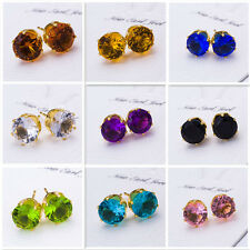 Big SALE Bling 18K Gold Plated 8MM Round Crystal Zircon Ear Studs Earrings Gift