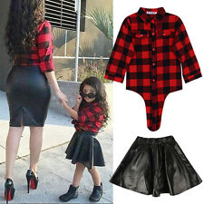 Toddler Kids Baby Girls Outfits Clothes T-shirt Top+Leather Skirt Dress 2PCS Set