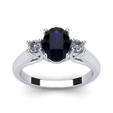 14K WHITE GOLD 3/4 CARAT OVAL SHAPE GENUINE SAPPHIRE AND TWO DIAMOND RING