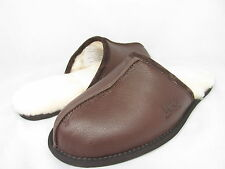 NEW UGG AUSTRALIA MEN SLIPPER SCUFF LEATHER STOUT BROWN 1001546 ORIGINAL