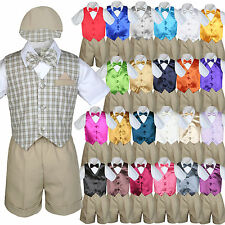 Baby Boy Toddler Formal Khaki Vest Shorts Check Suit Extra Bow Tie 7pc Set S-4T