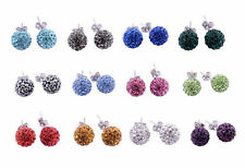 925 Sterling Silver 8mm Shamballa Earring Studs made with Swarovski Crystals