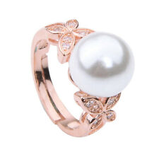 Size6-9 Classical 18K Rose Gold Plated Pearl Ring Swarovski Crystal Wedding Ring