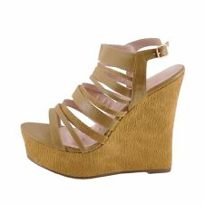 Blossom Jode 21 Tan Women's Strappy Platform Wedge Sandals