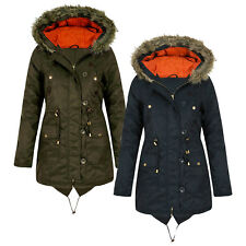 Womens Ladies Coat Claudia Hooded Padded Fishtail Parka Jacket with Faux Fur